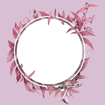 ピンクの葉のデザインと空のフレーム