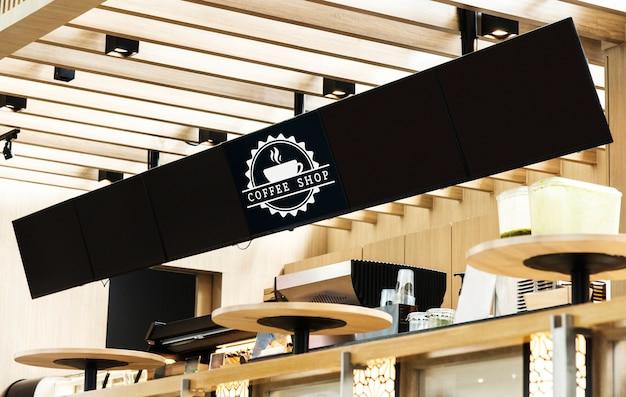 カフェのメニューの長いモックアップサイン