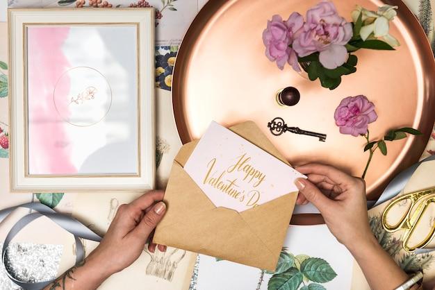 Романтическая открытка на день святого валентина