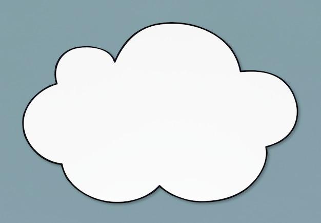 空白の白い雲の形をしたバナー