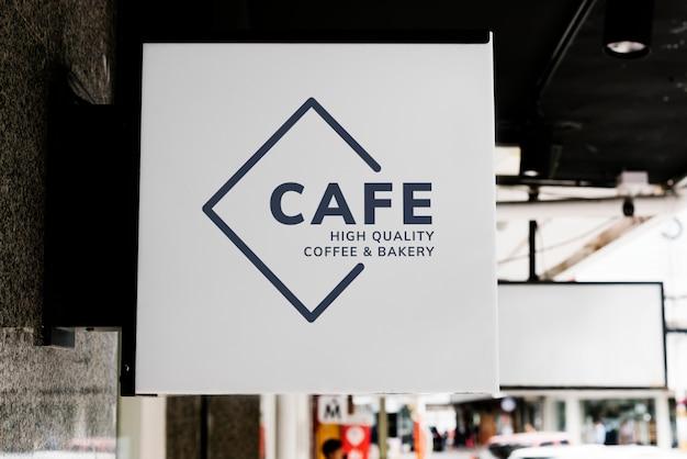 Минимальная кофейня знак макет