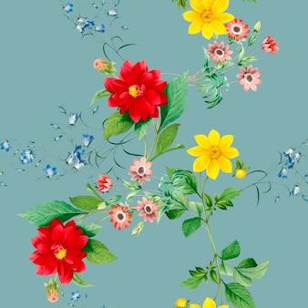Цветочный узор георгин