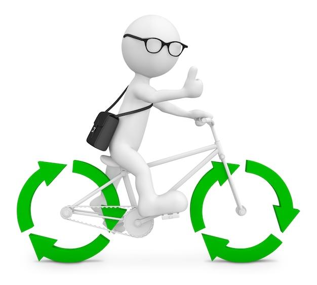 Трехмерный характер с велосипедом