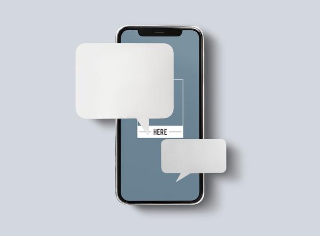 携帯電話のモックアップでのチャットメッセージング