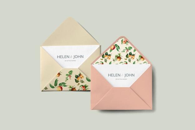 ビンテージフルーツの招待状カード封筒モックアップ