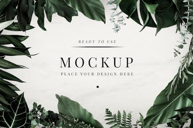 Тропическая листва дизайн рамы макет