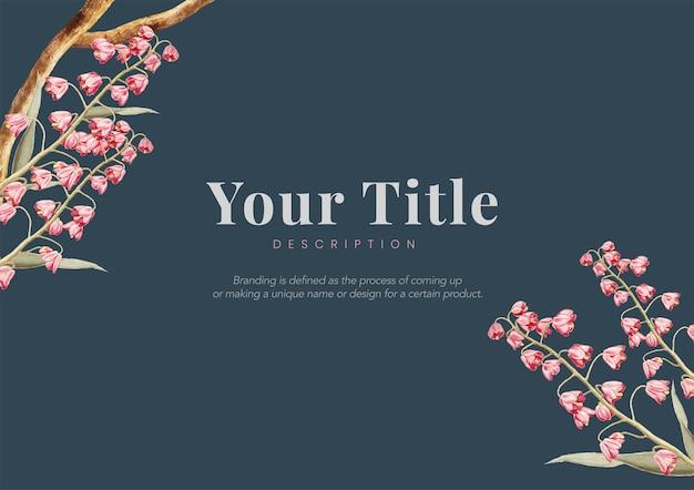 ヴィンテージの花の自然概念フレームデザイン