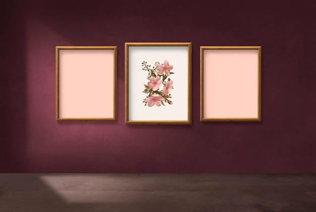 ピンクの壁にフレーム