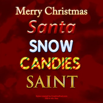 Рождество стили фотошоп текст