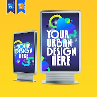 バス停でのデジタルメディアの空白の広告看板のモックアップ