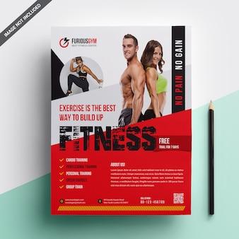 Фитнес флаер шаблон дизайна