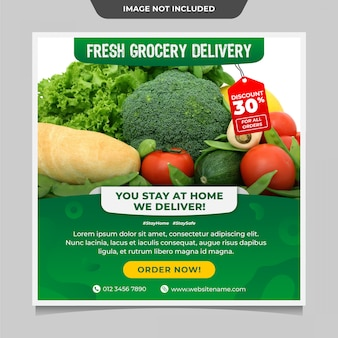 新鮮な食料品の配達ソーシャルメディアの投稿テンプレート