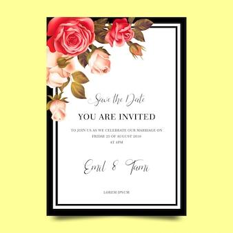 バラのフレームと結婚式の招待状のテンプレート