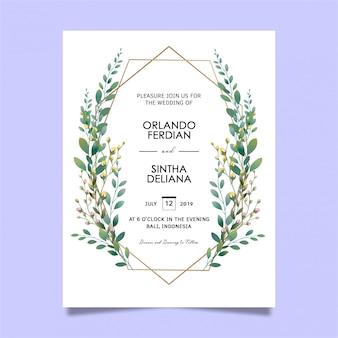 美しいリーフフレームの結婚式の招待状のテンプレート