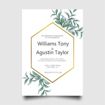 緑の葉のフレームとモダンな結婚式の招待カード