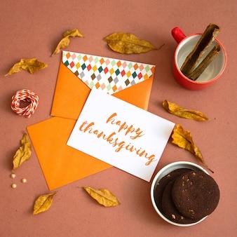 感謝祭グリーティングカードのモックアップ