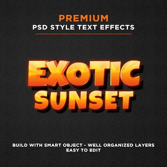 Экзотический закат оранжево-желтый текстовые эффекты