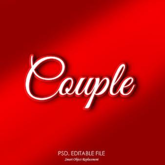 Пара романтический текстовый эффект макет