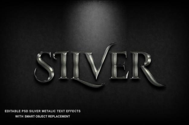 Металлический серебряный текстовый эффект