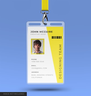 Корпоративный офис дизайн удостоверения личности с макетом