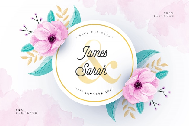 花のフレームと水彩のウェディングカード