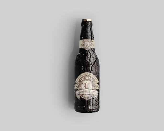 アンバーガラスビールボトルモックアップ水滴 - トップビュー