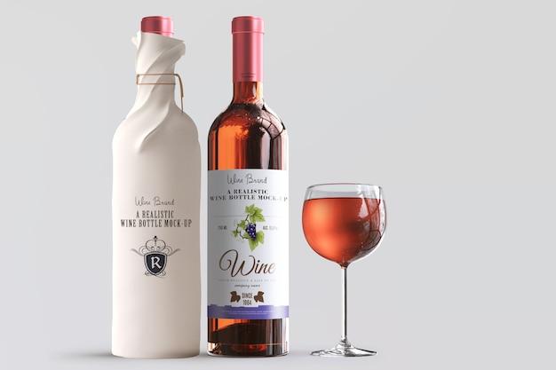 現実的なワインボトルラベルモックアップ