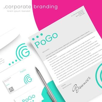 Корпоративный макет фирменного стиля с письмом, конвертом и визитками