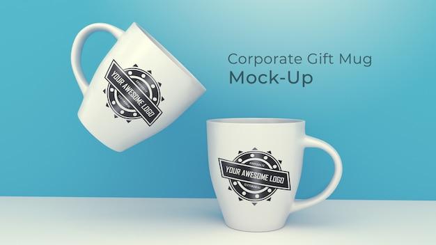 Современный корпоративный подарок кружка макет