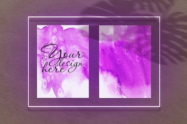 Макет двух постеров в неоновой рамке розового свечения с листьями теней
