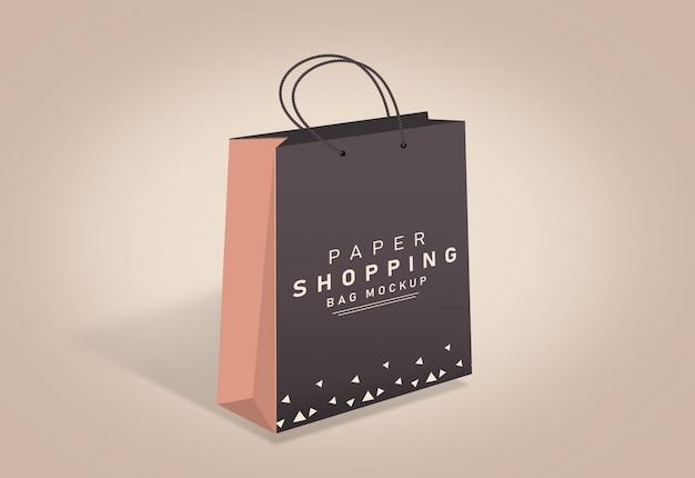買い物袋モックアップ紙袋モックアップ茶色の買い物袋