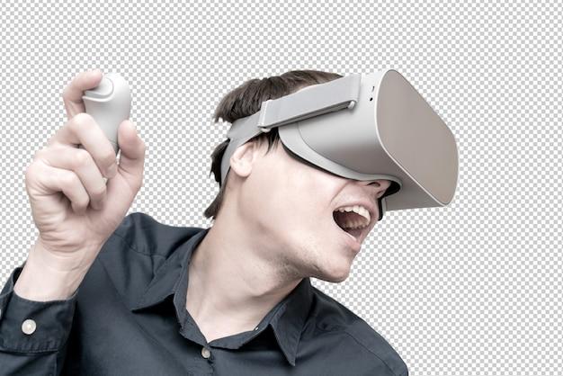 仮想現実の眼鏡をかけている若い男。革新と技術の進歩。ビジネス向けの最新テクノロジー。