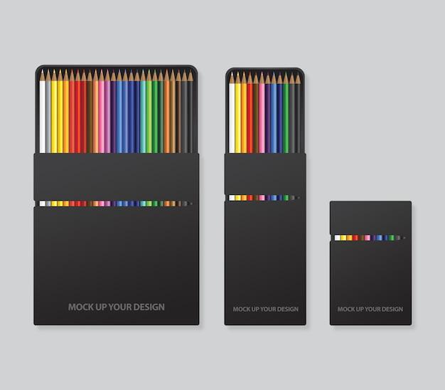 色鉛筆パッケージデザインテンプレートのモックアップ