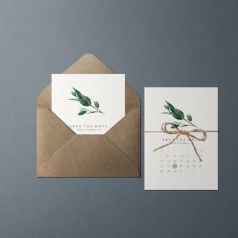 結婚記念日、片面の花の緑のテーマの招待状