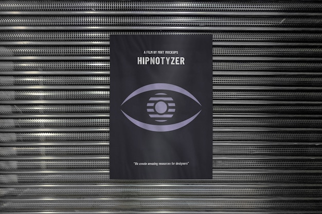 金属店の正面玄関の屋外垂直広告ポスターのモックアップ