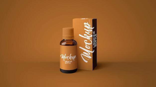 Янтарный макет бутылки медицины