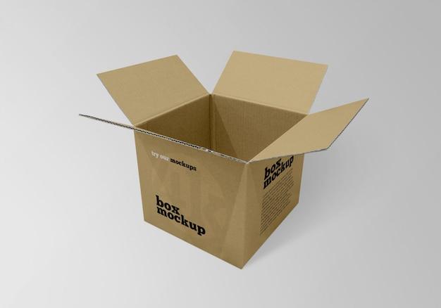 正方形の紙箱のモックアップを開く