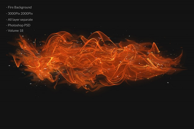 黒の背景に火の炎。