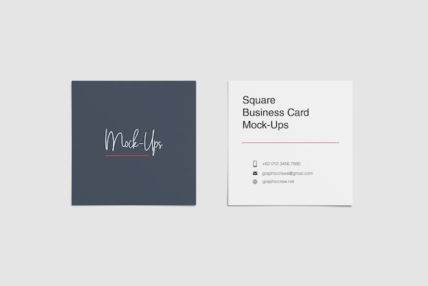 Два квадратных макета визитной карточки верхний угол зрения