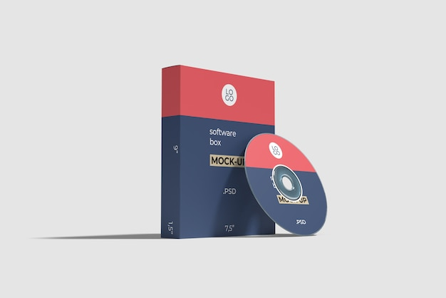 ソフトウェアボックスとコンパクトディスクモックアップ