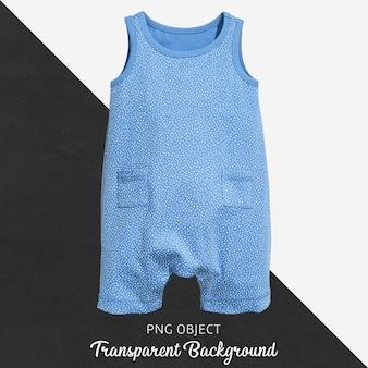 透明な水色の赤ん坊のジャンプスーツかボディスーツの白い水玉模様