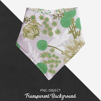 透明な緑と花柄のベビーバンダナ