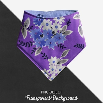 透明な紫色、花柄のベビーバンダナ