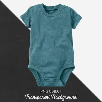 透明な背景にターコイズブルーの赤ちゃんボディスーツ