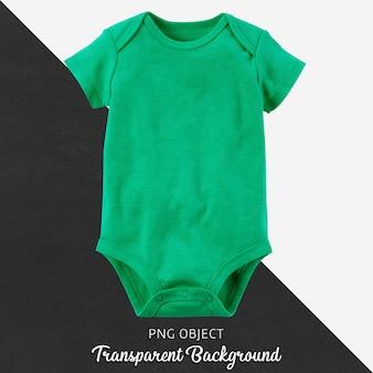 透明な背景に赤ちゃんのための緑のボディースーツ