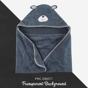 ネイビーブルーのベビーまたは子供用タオル、バスローブ、透明の背景