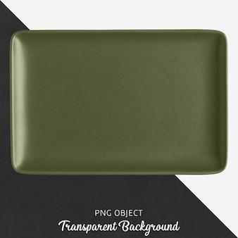Темно-зеленая керамическая прямоугольная пластина на прозрачном фоне