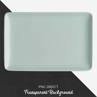 Голубая керамическая прямоугольная пластина на прозрачном фоне