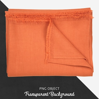 透明な背景にオレンジ色のテーブルクロス繊維
