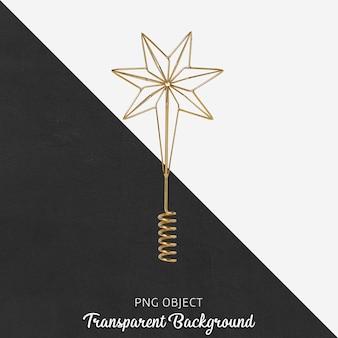 Золотой новогодний орнамент на прозрачном фоне